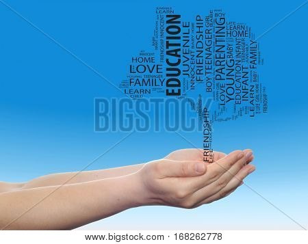 Concept conceptual black education text word cloud tagcloud as a tree on man or woman hand on blue sky  background metaphor to child, family, education, life, home, love and school learn achievement