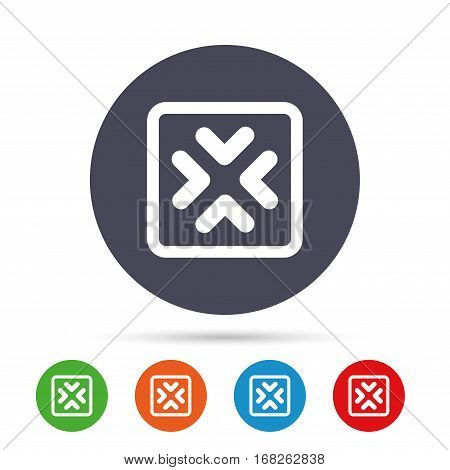 Enlarge or resize icon. Full Screen extend symbol. Round colourful buttons with flat icons. Vector
