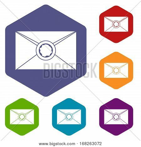 Envelope with red wax seal icons set rhombus in different colors isolated on white background