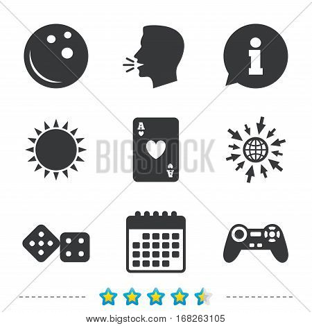 Bowling and Casino icons. Video game joystick and playing card with dice symbols. Entertainment signs. Information, go to web and calendar icons. Sun and loud speak symbol. Vector