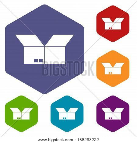 Opened cardboard box icons set rhombus in different colors isolated on white background