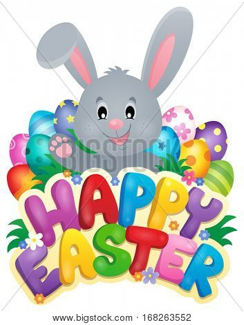 Happy Easter sign with bunny and eggs - eps10 vector illustration.