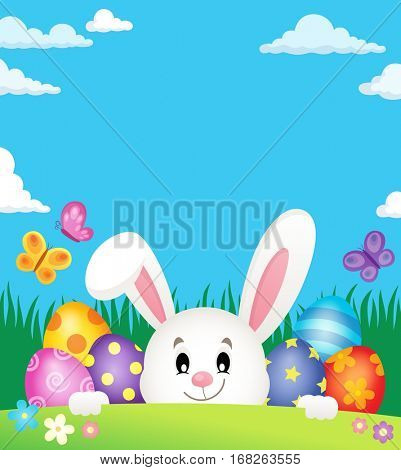 Easter eggs and lurking bunny theme 2 - eps10 vector illustration.
