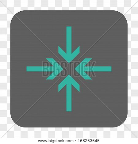 Reduce Arrows interface toolbar button. Vector icon style is a flat symbol inside a rounded square button cyan and gray colors chess transparent background.