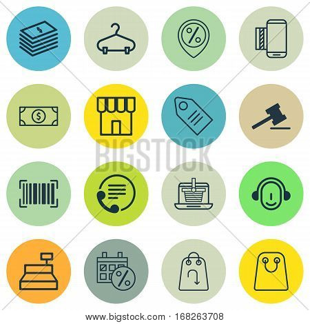 Set Of 16 Commerce Icons. Includes Till, Buck, Employee And Other Symbols. Beautiful Design Elements.
