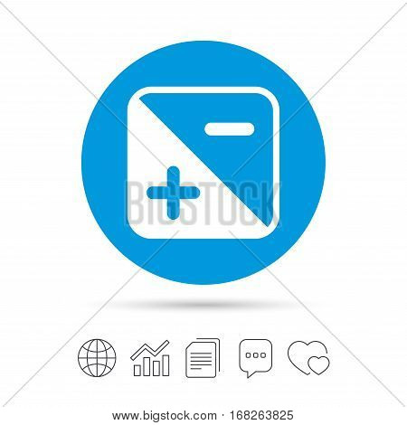 Exposure photo camera sign icon. Quantity of light settings. Copy files, chat speech bubble and chart web icons. Vector