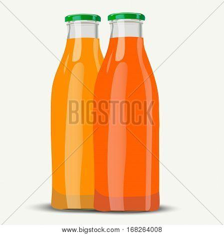 Very high quality original trendy vector illustration of realistic juice botttle