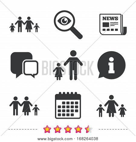 Family with two children icon. Parents and kids symbols. One-parent family signs. Mother and father divorce. Newspaper, information and calendar icons. Investigate magnifier, chat symbol. Vector