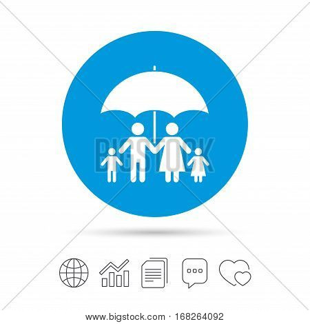 Complete family insurance sign icon. Umbrella symbol. Copy files, chat speech bubble and chart web icons. Vector
