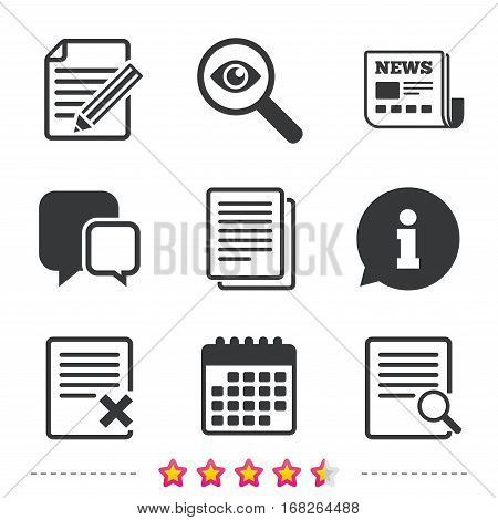 File document icons. Search or find symbol. Edit content with pencil sign. Remove or delete file. Newspaper, information and calendar icons. Investigate magnifier, chat symbol. Vector