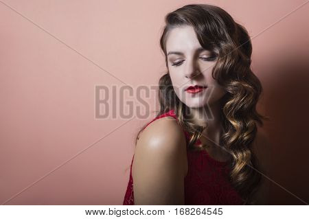 Beautiful Brunette Model With An Elegant Hairstyle