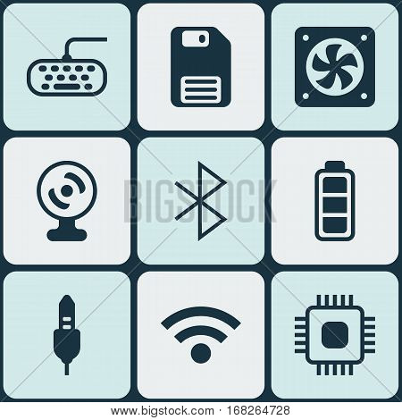 Set Of 9 Computer Hardware Icons. Includes Computer Keypad, Chip, Web Camera And Other Symbols. Beautiful Design Elements.