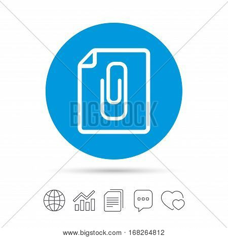 File annex icon. Paper clip symbol. Attach symbol. Copy files, chat speech bubble and chart web icons. Vector