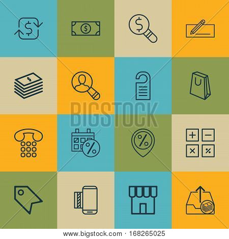 Set Of 16 E-Commerce Icons. Includes Recurring Payements, Price, Outgoing Earnings And Other Symbols. Beautiful Design Elements.