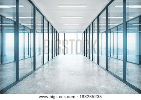 Modern glass office interior with concrete floor ceiling lamps and panoramic window with no view. 3D Rendering