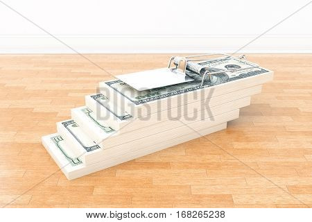 Abstract dollar bill trap in room with wooden floor. Risk concept. 3D Rendering