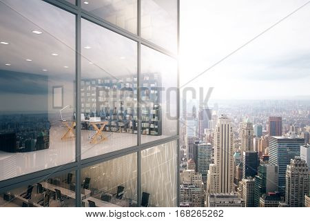 Creative glass building exterior and see through office interior on modern downtown city background. 3D Rendering