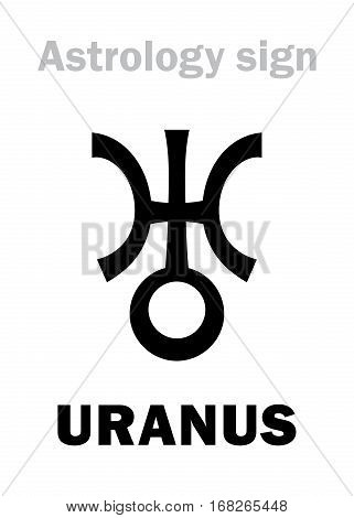 Astrology Alphabet: URANUS Transsaturn higher global planet. Hieroglyphics character sign (single symbol).