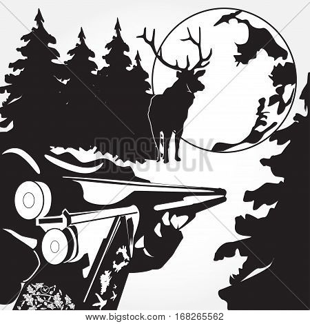 Loading of a rifle vector illustration. Black and white hunting deers concept design elements in flat style.