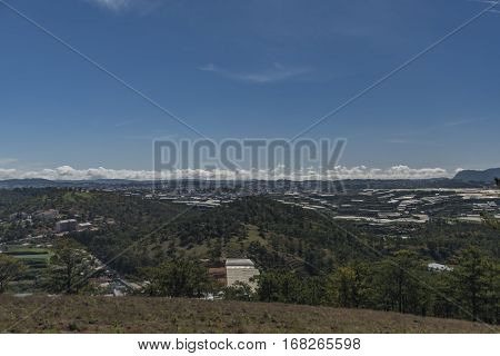 View for Da Lat city and hill in Vietnam