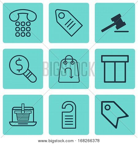 Set Of 9 Commerce Icons. Includes E-Trade, Box, Price And Other Symbols. Beautiful Design Elements.