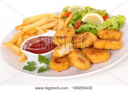 fried nugget with french fries and salad