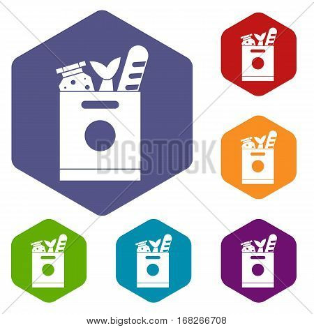 Grocery bag with food icons set rhombus in different colors isolated on white background