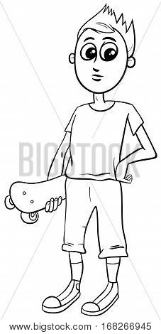 Boy With Skateboard Coloring Page