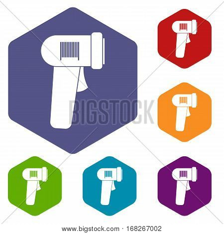 Barcode scanner icons set rhombus in different colors isolated on white background