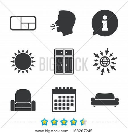 Furniture icons. Sofa, cupboard, and book shelf signs. Modern armchair symbol. Information, go to web and calendar icons. Sun and loud speak symbol. Vector