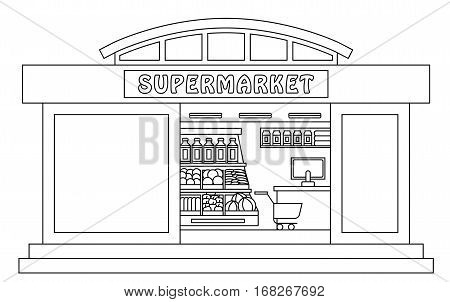 Supermarket shop - the vector outline isolated illustration