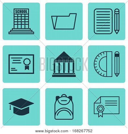 Set Of 9 School Icons. Includes Education Center, Document Case, Education Tools And Other Symbols. Beautiful Design Elements.