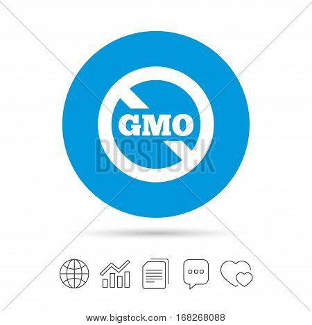 No GMO sign icon. Without Genetically modified food. Stop GMO. Copy files, chat speech bubble and chart web icons. Vector