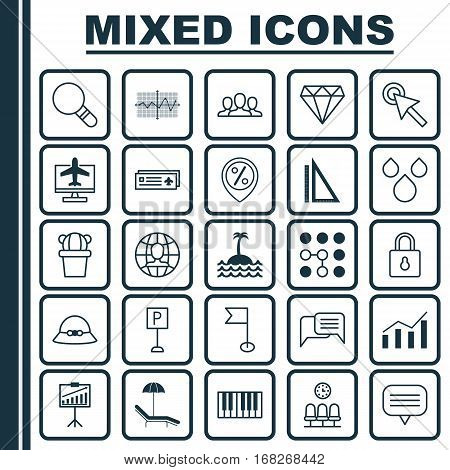 Set Of 25 Universal Editable Icons. Can Be Used For Web, Mobile And App Design. Includes Elements Such As Society, Reef, Woman Cap And More.