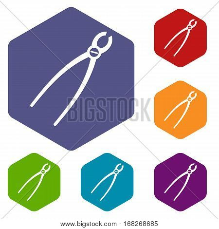 Tooth extraction instrument icons set rhombus in different colors isolated on white background
