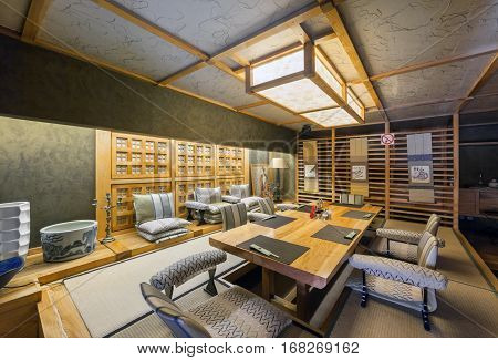 MOSCOW - AUGUST 2014: Interior of the Japanese restaurant