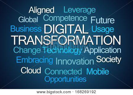 Digital Transformation Word Cloud on Blue Background