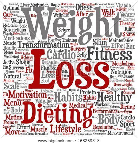 Vector concept or conceptual weight loss healthy dieting transformation square word cloud isolated on background metaphor to fitness motivation, lifestyle, before and after workout slim body beauty
