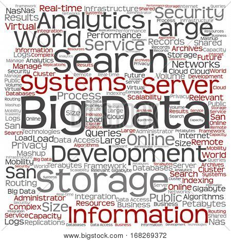 Vector concept or conceptual big data large size storage systems square word cloud isolated on background metaphor to search analytics, world information, nas, development, future internet mobility