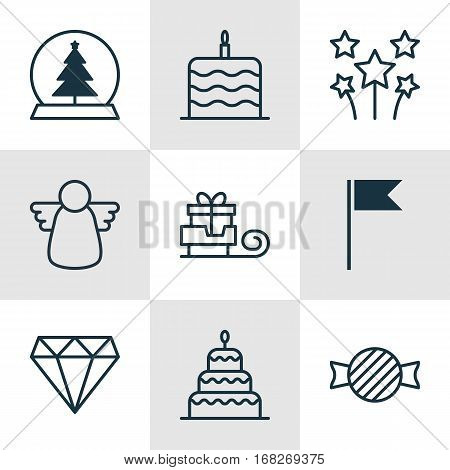 Set Of 9 New Year Icons. Includes Celebration Cake, Toboggan, Dessert And Other Symbols. Beautiful Design Elements.