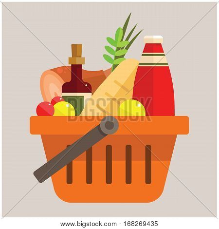 basket with foods - the vector color illustration
