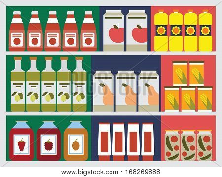 Shelves with products in the shop  - the vector color illustration