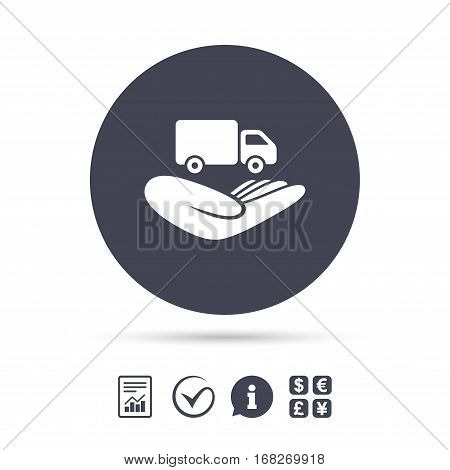 Company vehicles insurance sign icon. Hand holds delivery truck. Protection vehicle from damage and accidents. Report document, information and check tick icons. Currency exchange. Vector