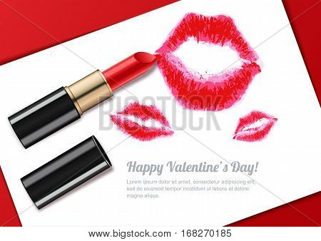 Vector Illustration Of Womens Lips Kiss And Red Lipstick. Valentines Day Greeting Card Or Banner Des