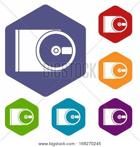 DVD drive open icons set rhombus in different colors isolated on white background