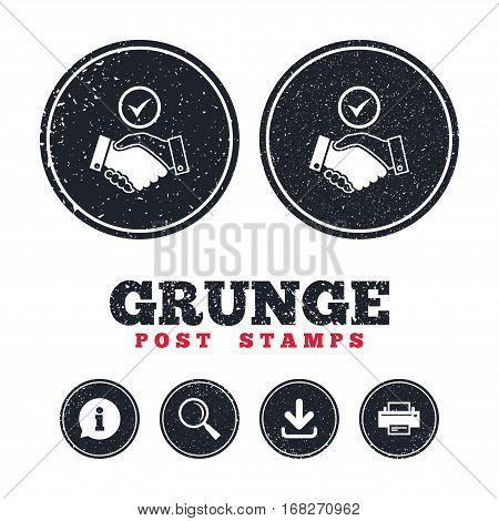 Grunge post stamps. Tick handshake sign icon. Successful business with check mark symbol. Information, download and printer signs. Aged texture web buttons. Vector