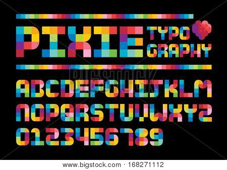 Vector of stylized colorful pixel font and alphabet