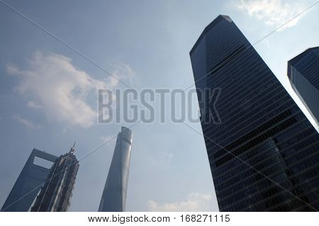 SHANGHAI - FEBRUARY 29: Financial towers in the Pudong east side of Shanghai, China, February 29, 2016.