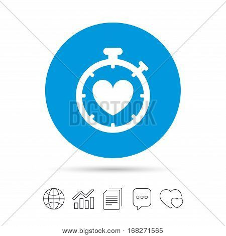 Heart Timer sign icon. Stopwatch symbol. Heartbeat palpitation. Copy files, chat speech bubble and chart web icons. Vector