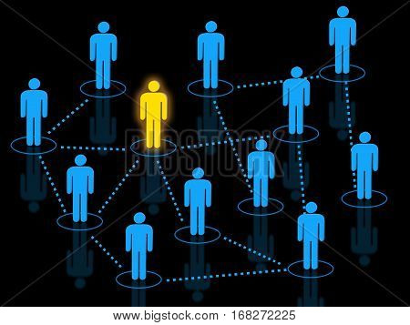 Human resources network icons concept with interconnected human shaped silhouettes